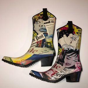 Corkys Rubber Rain Cowboy Boots Comic Design